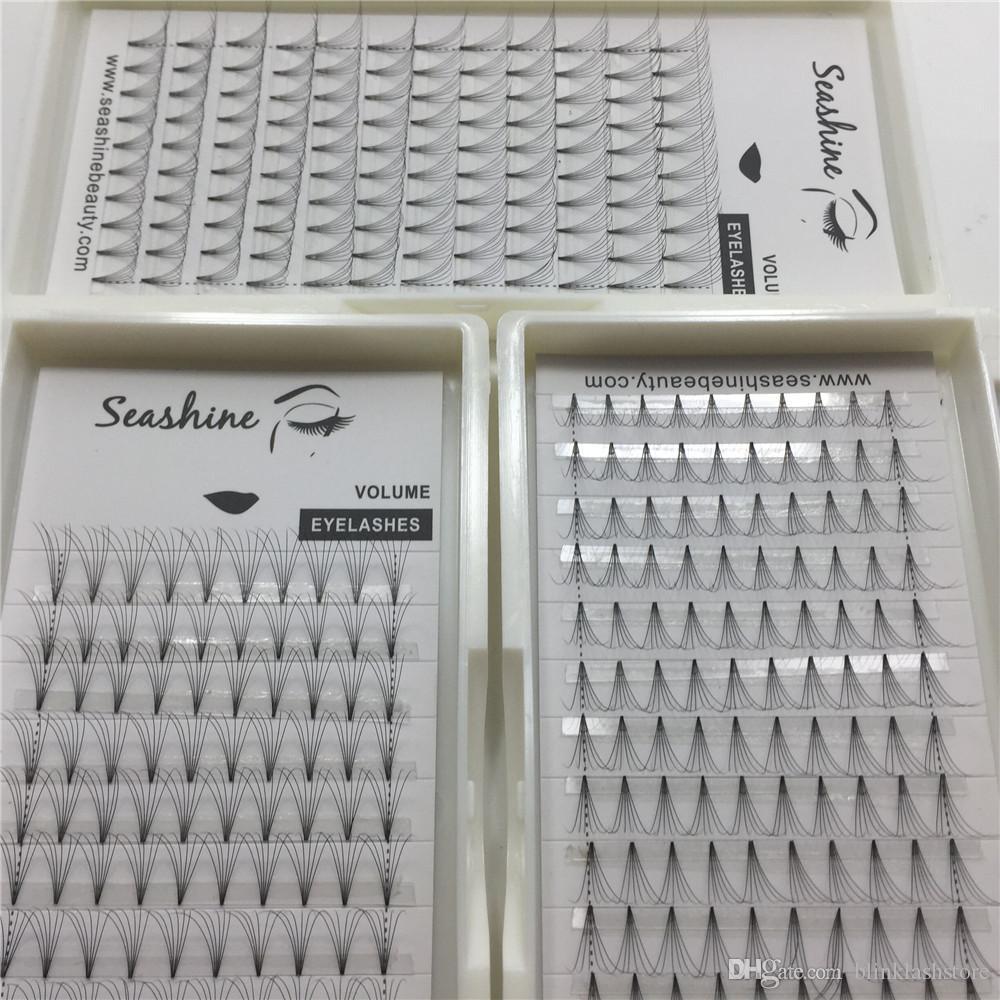 Seashine завод Новый стиль 6D ручной работы короткий стебель предварительно сделал русский объем вентиляторы наращивание ресниц частный брендинг
