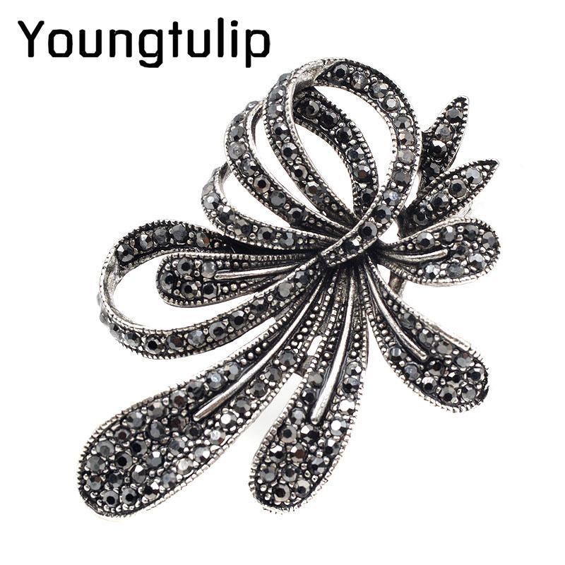 Young tulip Rhinestone Flower Brooches for Women Black Color Fashion Brooch Pin Vintage Jewelry High Quality New Year Gift 2018