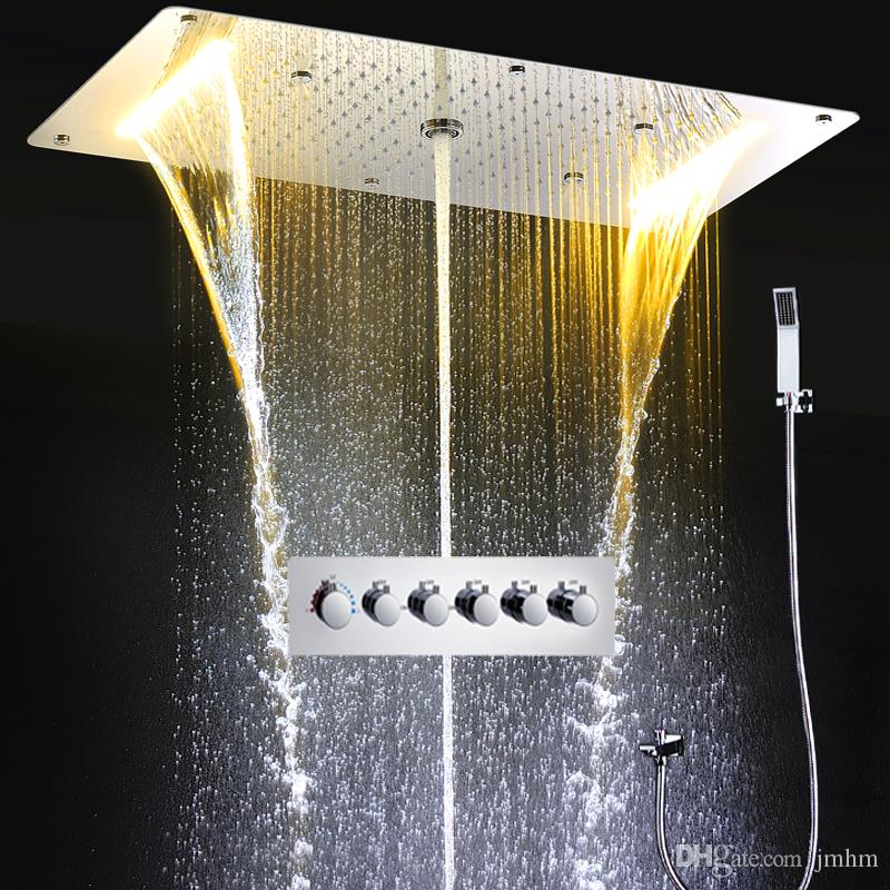 Shower Faucets Back To Search Resultshome Improvement Thermostat Waterfall Rain Shower Faucet Set Hot And Cold Bath Mixer Panel Brass Chrome Shower Head Professional Design