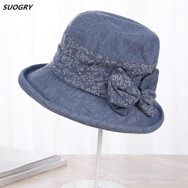 32266cba70f SUOGRY Spring Summer Hats For Women Lady Cotton Flower Bow Bucket ...