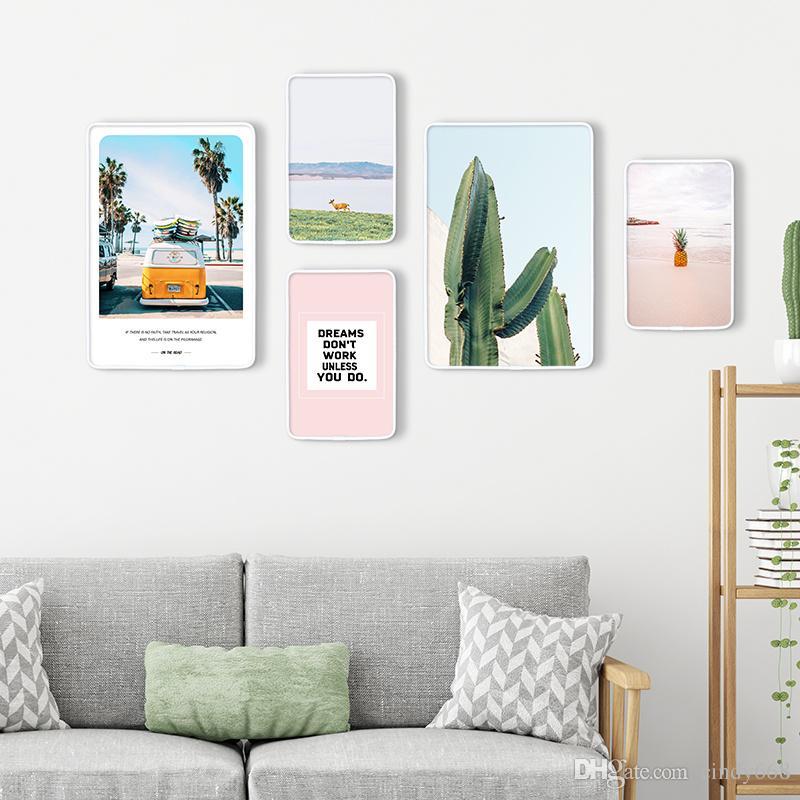Weiße Bilderrahmen für Wand-Dekor Kreative Bilderrahmen für Wohnzimmer Wand  Holzrahmen für Gemälde Dekoration 5 Stück Leinwand Kunst foto