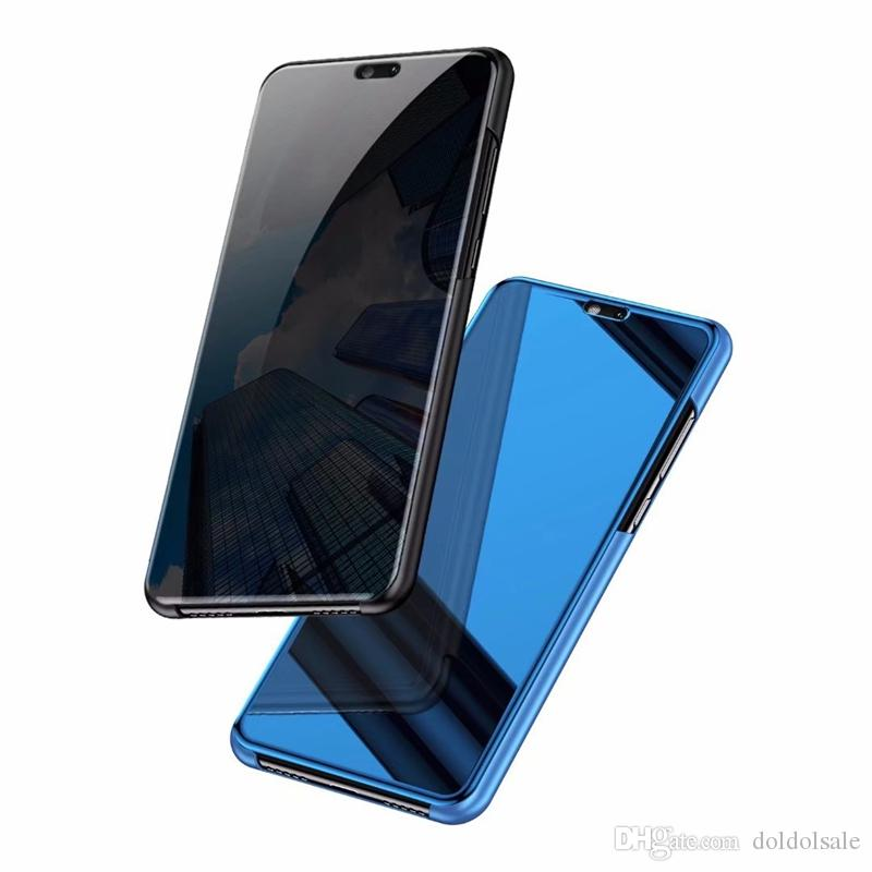 Luxury Mirror Clear View Case for Huawei P20 P20 Pro Enjoy 8 8E 8 Plus Phone Cover Plating Base Vertical Stand