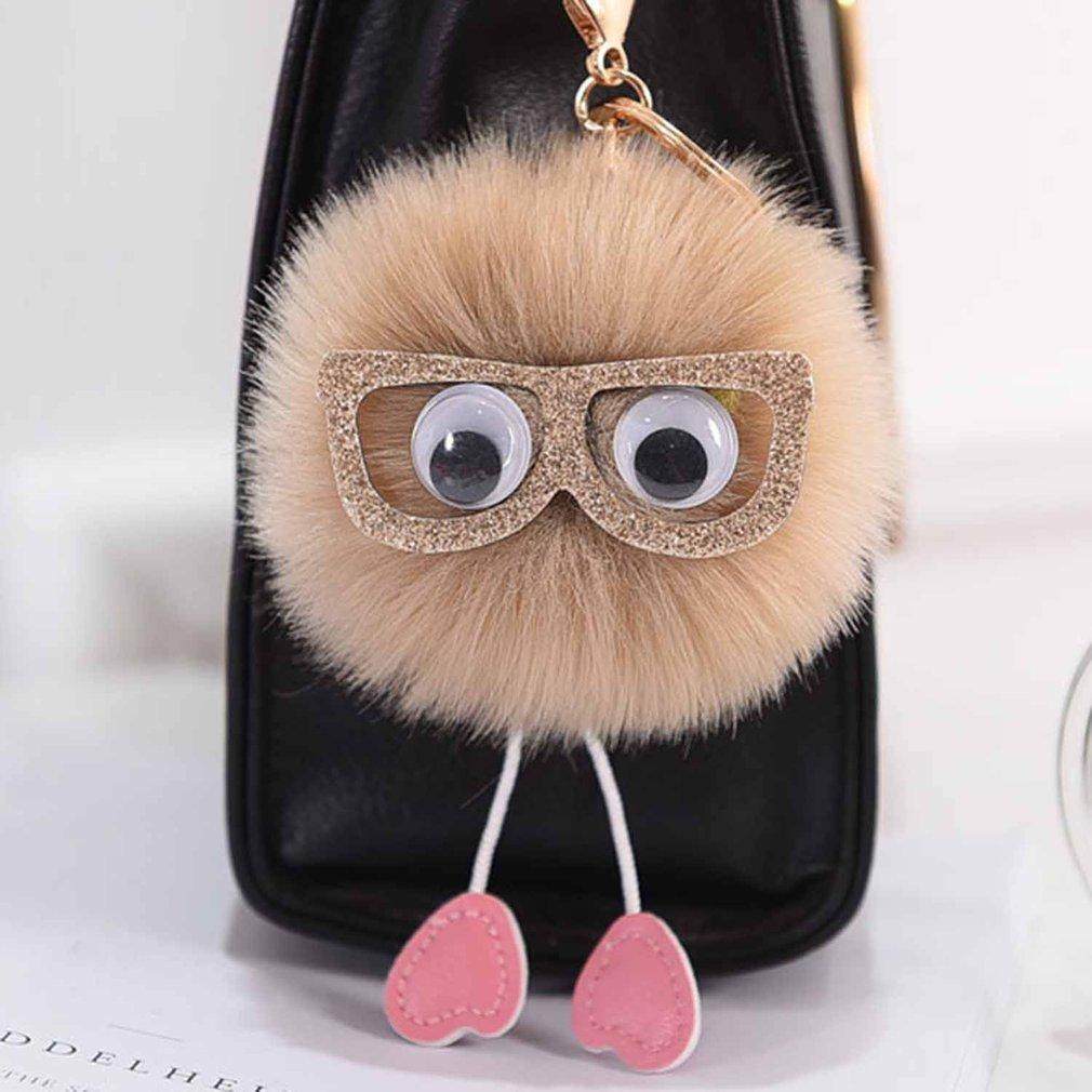 0d89906d0e27 Mini Charms Cute Faux Rabbit Fur Pompom Car Handbag Pendant Key ...