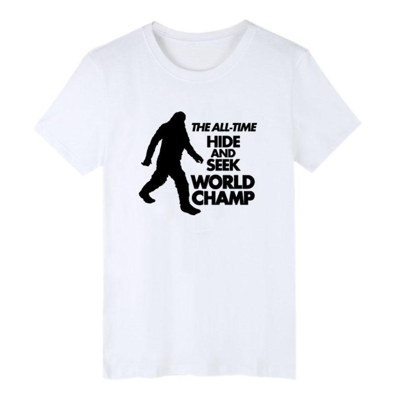 dabfcd97 Bigfoot T Shirt Funny Men's Printing T Shirt The All Time Hide And Seek  World Champ Funny Saying Letters Graphics Tee Shirt