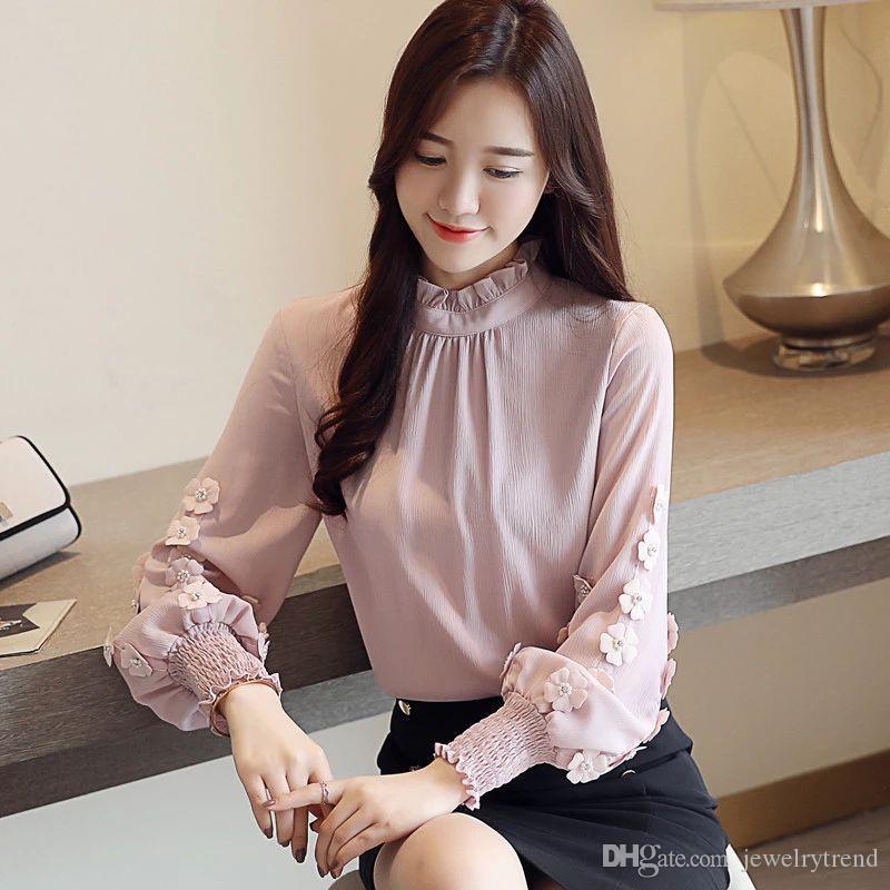 154366b23 Compre Novo Outono Das Mulheres Chiffon Blusa Puff Manga Flores Soltas Tops  Camisa Blusas Da Senhora C3755 De Jewelrytrend