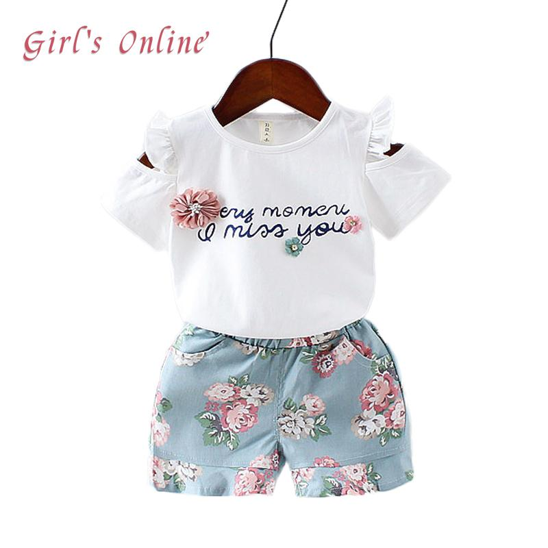 a399c0a4a7faf Summer Baby Girls Suits 2018 New Casual 1 2 3 Year Toddler Children  Clothing Set Letter T-shrts Flower Shorts Kids Clothes