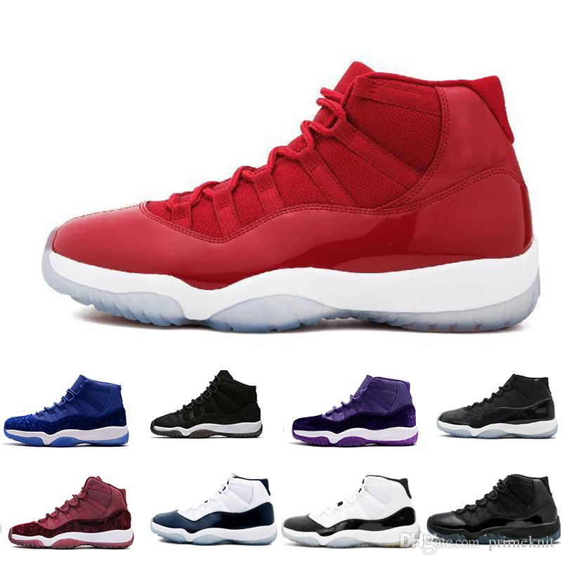 dae0fa146e2 11 11s Women Men Basketball Shoes Cap And Gown Concord Platinum Tint Prom  Night Gym Red Bred Space Jam Velvet Burgundy 36 47 Basketballs Shoes Mens  From ...