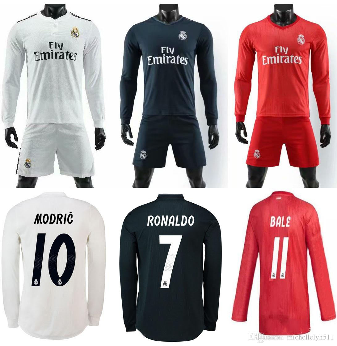 18 19 Real Madrid Long Sleeve Soccer Jerseys Shorts 2018 19 BALE Ronaldo  MODRIC BENZEMA ISCO Football Kits Adult Full Sleeve Soccer Sets UK 2019  From ... e257c0eed