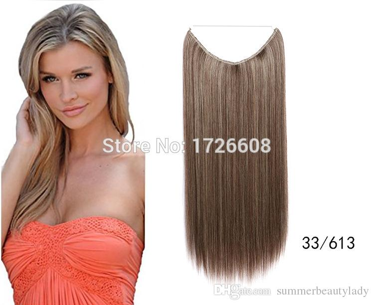 2018 No Clip Hair Extension Natural Straight Invisible Synthetic