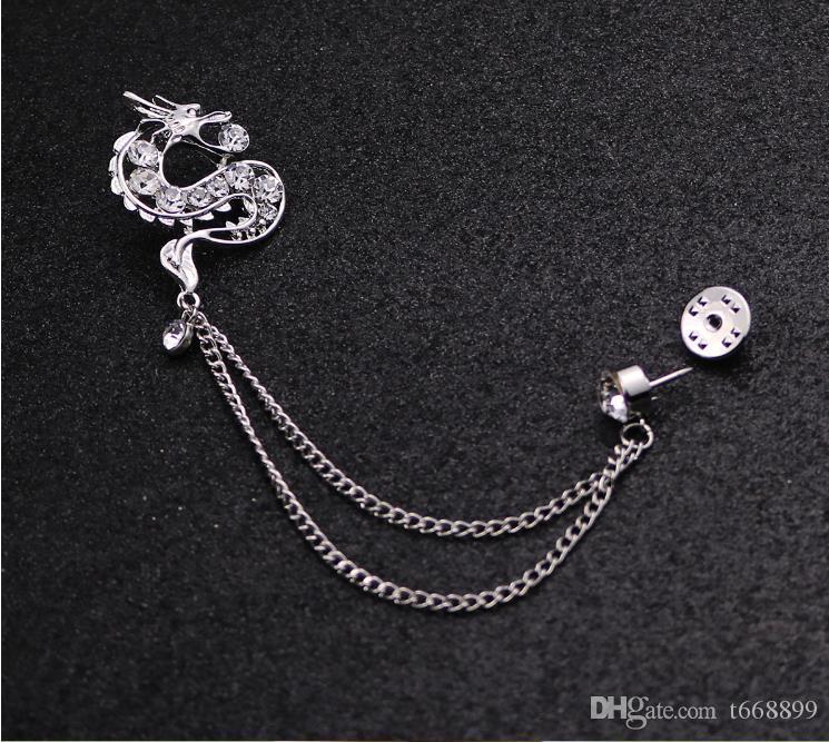 Südkoreanischer Mann Brosche Broschen Zubehör Tierkreis Drachen, der alte Weisen Stifte Abzeichen Kleid Kragen Medaille der Herrenanzüge wiederherstellt