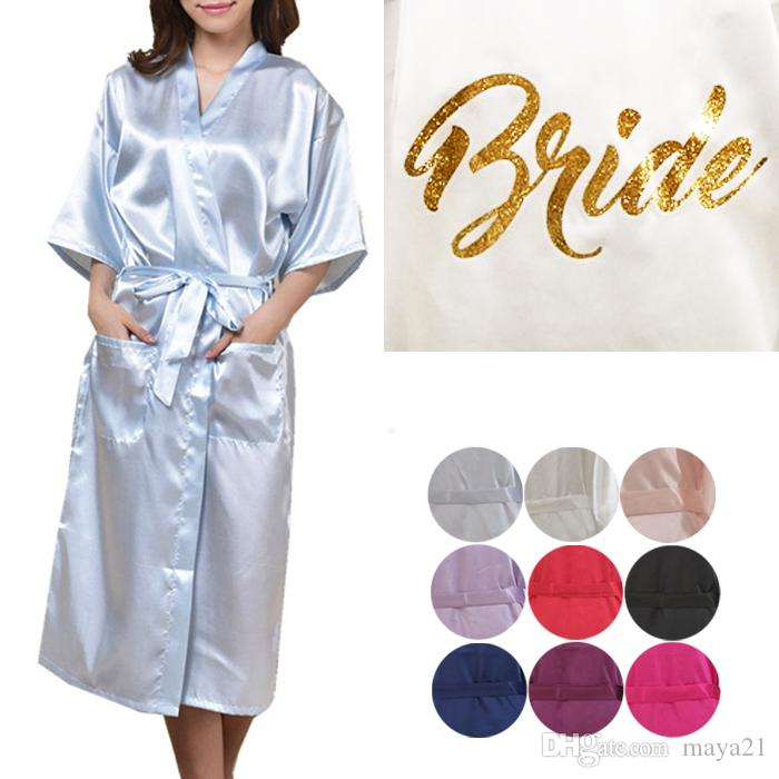 c41715d50c Long Plain Satin Wedding Robe Cheap Short Sleeves Kimono Party Robes  Wedding Party Robes For Brides Gold Print Bathrobe Party Favors Gift Gifts  For Bridal ...