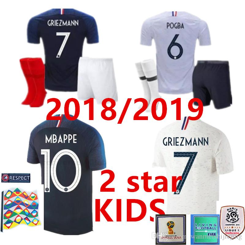 76d4aa49d01 2019 2 Star KIDS Kit Pogba Soccer Jersey 2018 World Cup 18 19 PAYET DEMBELE  MBAPPE GRIEZMANN KANTE National Football Shirts COMAN AWAY Whit From ...