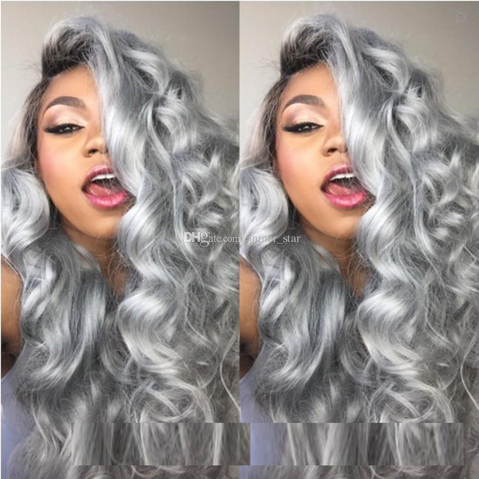 Brazilian Human Ombre Human Lace Front Wig Black Grey Lace Front Wig Two Tone Gray Human Hair Wigs Full Lace Wig