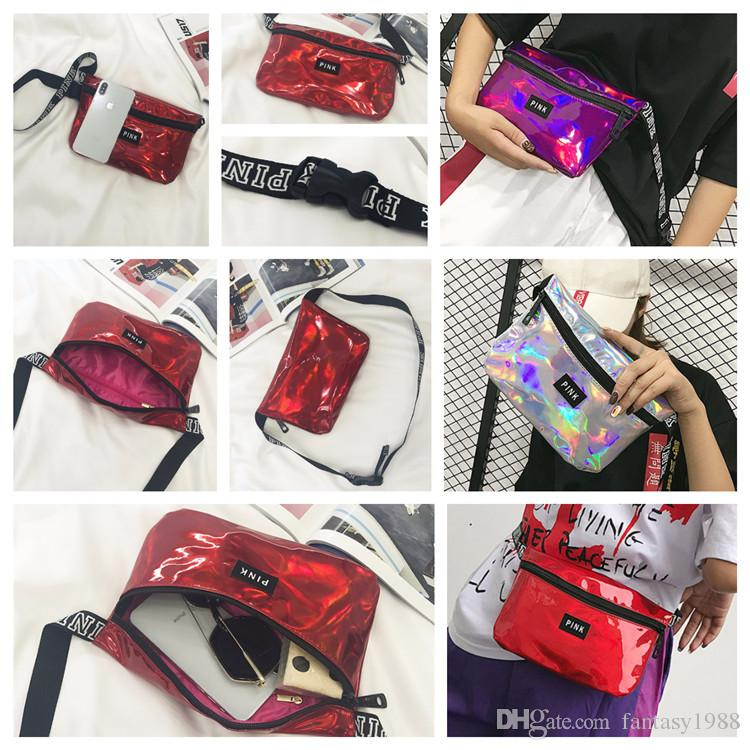 PINK Womens Laser Waistpacks Purses Pocket Bags Girls Cosmetic Bag  Waterproof Waist Bag Travel Running Beach Ladies Storage Stuff Sacks  Waistpacks Pocket ... 86a452a02