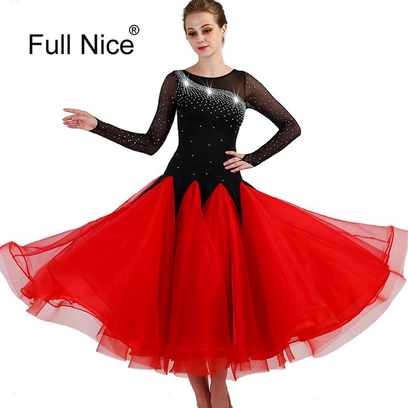 528142b619b1 2019 New Plus Size Ballroom Dance Dress Competition Women Dance Wear O Neck  Rhinestones Long Sleeve Red Modern Costumes From Weilad, $177.02 |  DHgate.Com