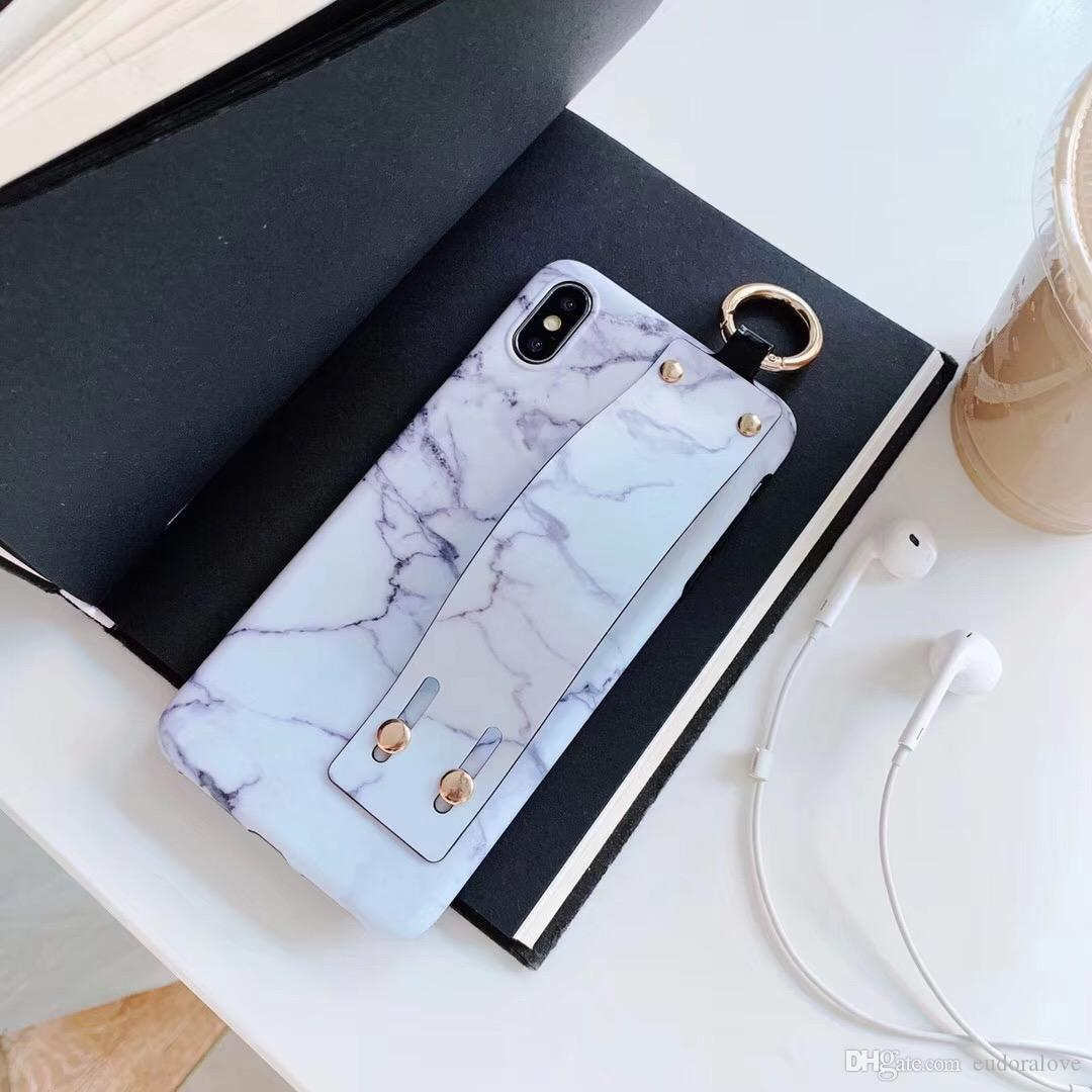For Iphone Xs Max Case Luxury Marble Strap Hand Stand