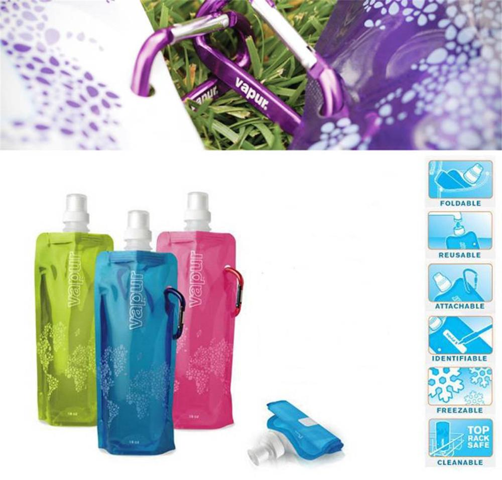 BPA Free Foldable Sports Water Bag Bladder Outdoor Hiking Climbing Easy to Carry Travel Accessories 480ml Ice bag B1910