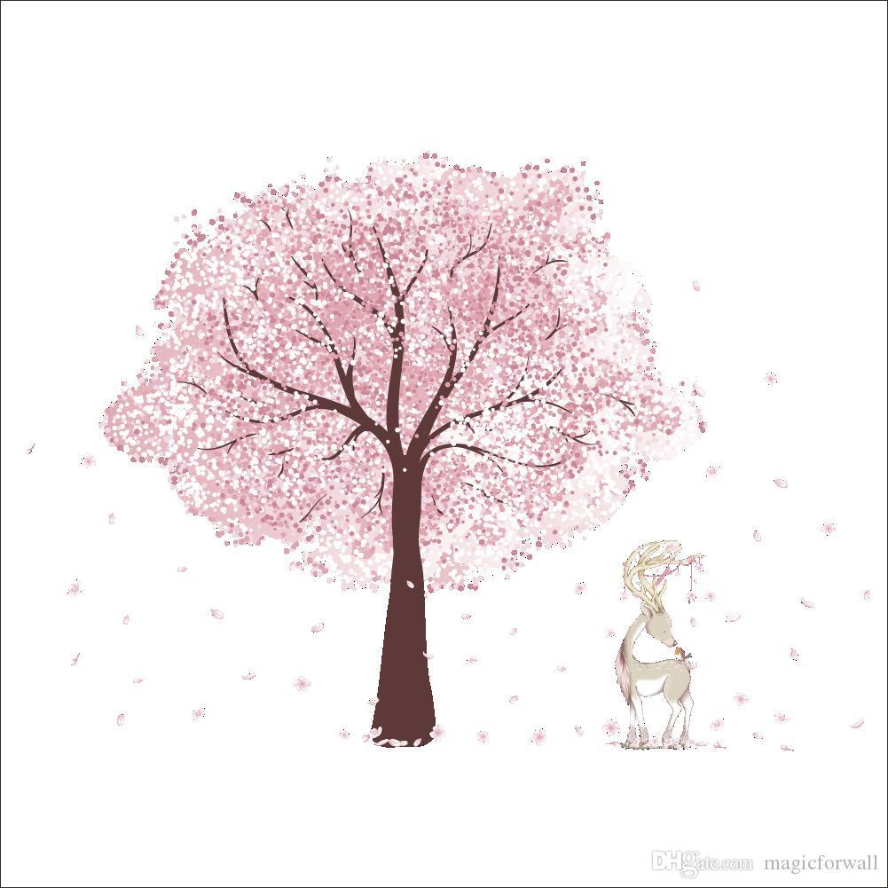 الوردي زهر البرقوق شجرة سيكا الغزلان ملصقات الحائط ديكور المنزل غرفة المعيشة جدار جدارية المشارك الفن خلفيات زين الجرافيك جدار الوشم