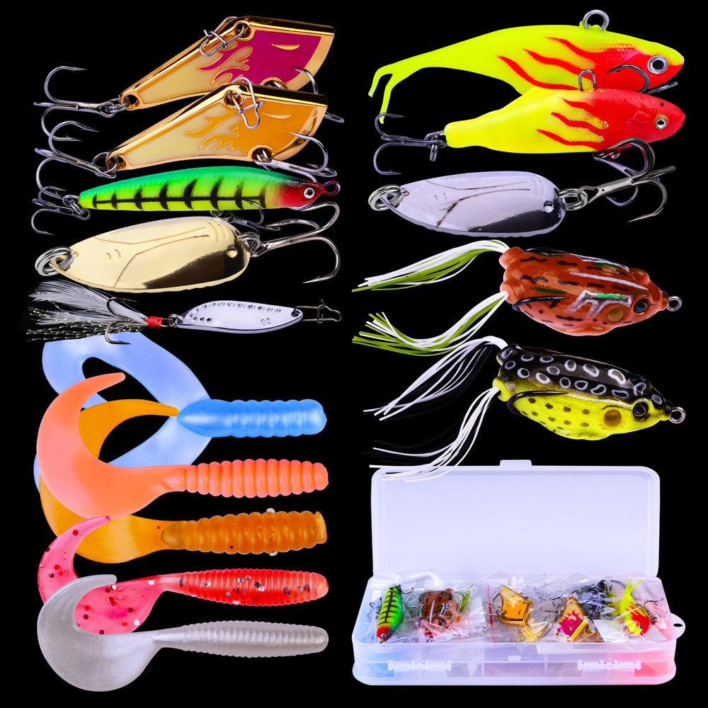 Mix styles fishing lure set Frog Shad Crankbaits 15pc/set Plastic/Metal Laser bait with Plastic Box