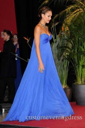 Custom Made Elegant Strapless Royal Blue Empire Celebrity Dresses the Oscar Gown by Jessica Alba Prom Evening Gowns