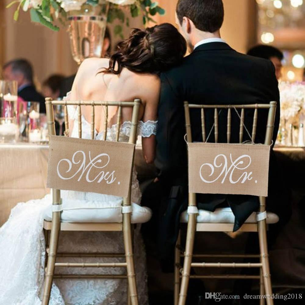 Wedding decoration Chair cover Wholesale-Rustic wedding sign MR and MRS banner wedding Flower Girl , bride and groom Plaque paper photoboo