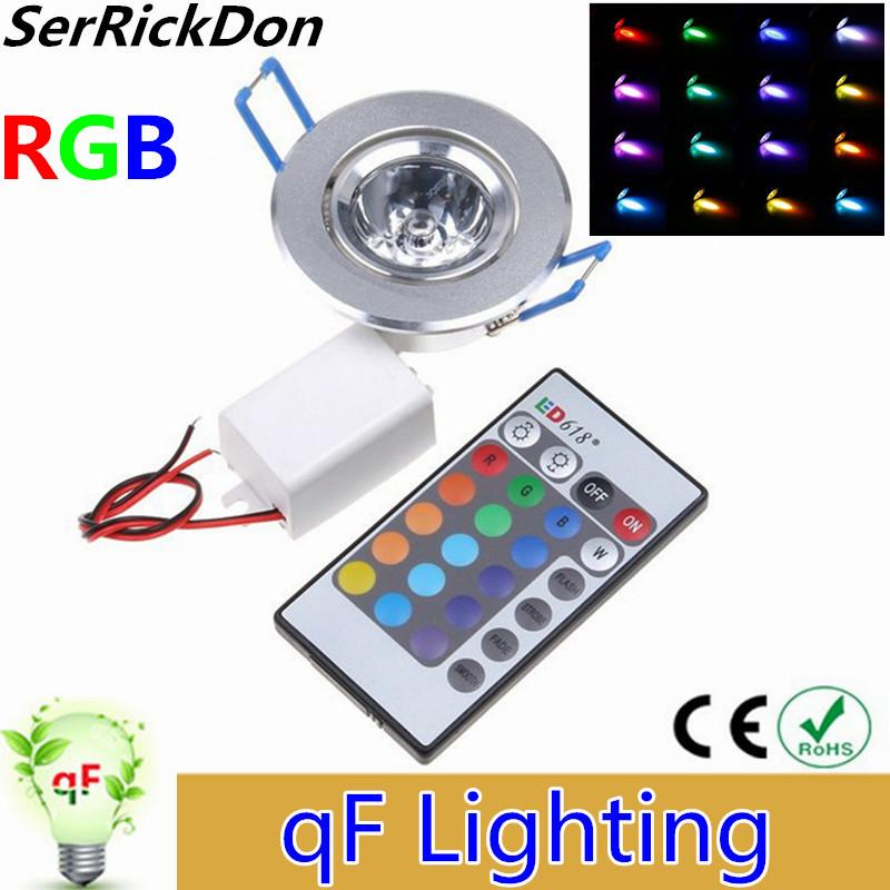 RGB Downlight 3W LED Plafond Bas Lumières Encastrables LED RGB Downlight avec AC85-265V pilote et 24 Ke Ke IR Remote