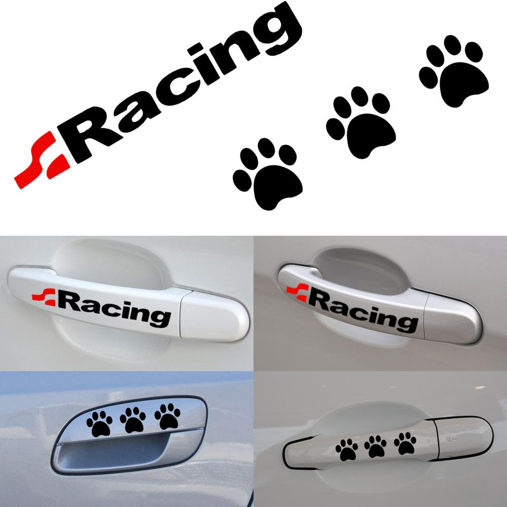 2018 Car Styling Door Handle Car Stickers Footprint Racing Car Decals Decoration For bmw f30 f34 f10 e46 e39 e60 e9