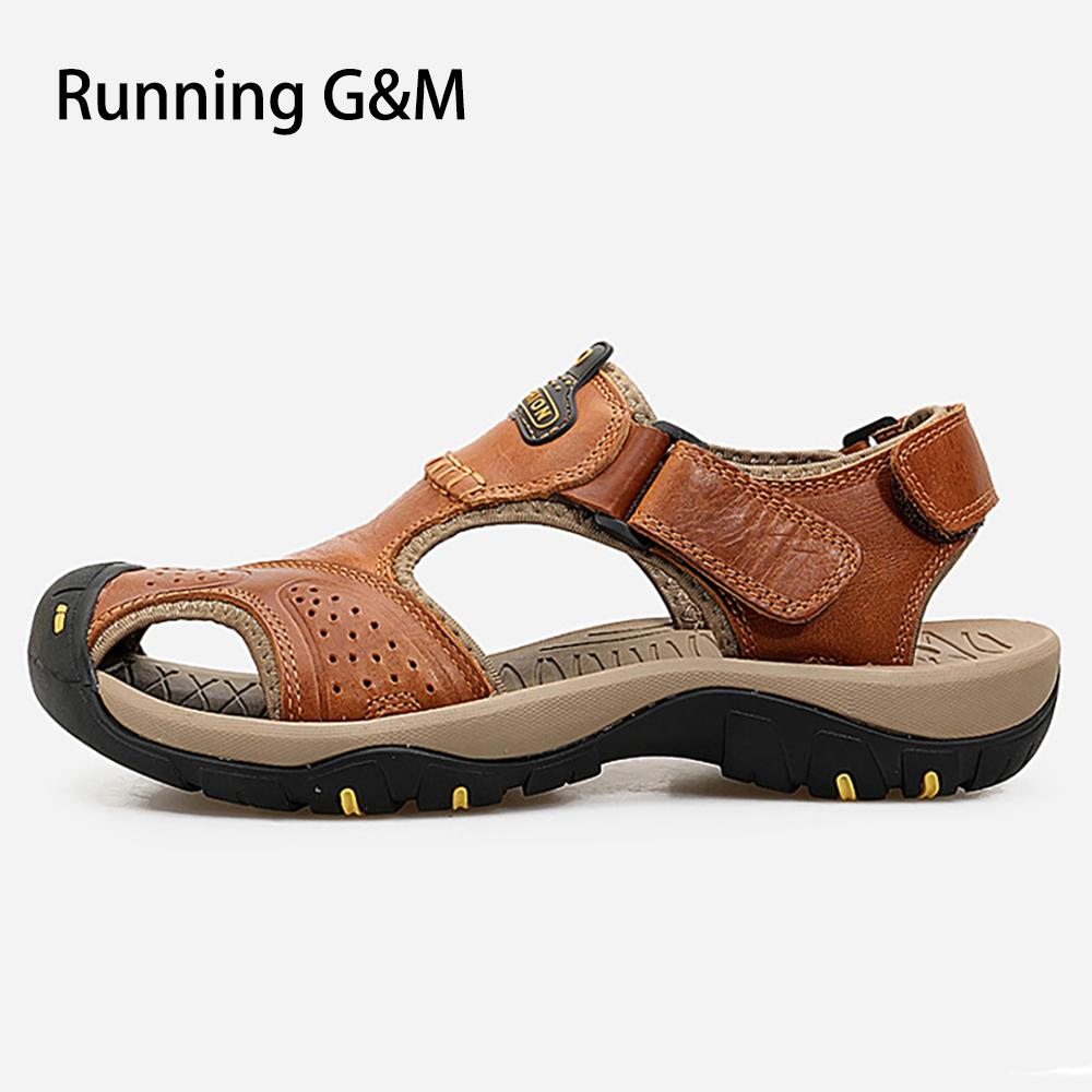 ec2c979bb0a G M Man Flat Sandals Luxury Beach Shoes Genuine Cow Leather Hook   Loop  Rubber Casual Sewing Basic 2018 Summer Outdoor F0001 Men s Sandals Cheap  Men s ...