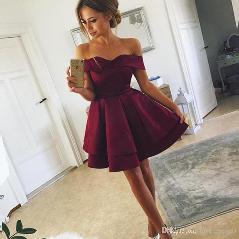 f0e97d2678 Simple Wine Cheap Short Cocktail Party Dresses Off The Shoulder V Neck  Satin A Line Backless Homecoming Graduation Prom Dress Gowns New Orange  Cocktail ...