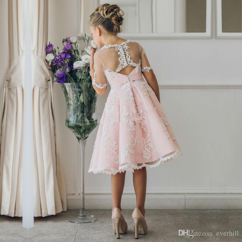 Jane Vini Pink Lace Short Sleeve Flower Girl Dresses Knee Length Sheer Tulle Kids Princess First Holy Communion Girls Pageant Dresses 2018