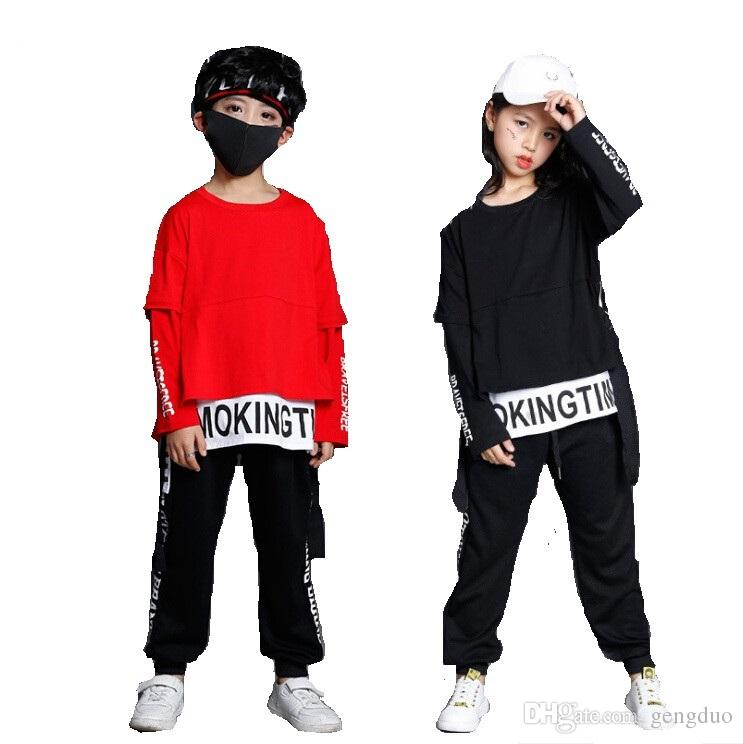 d59af09405a 2019 Kids Street Dance Clothing For Girls Boys Black Red Long Sleeve  Oversize Hip Hop T Shirt Pant Two Pieces Children Sport Set From Gengduo