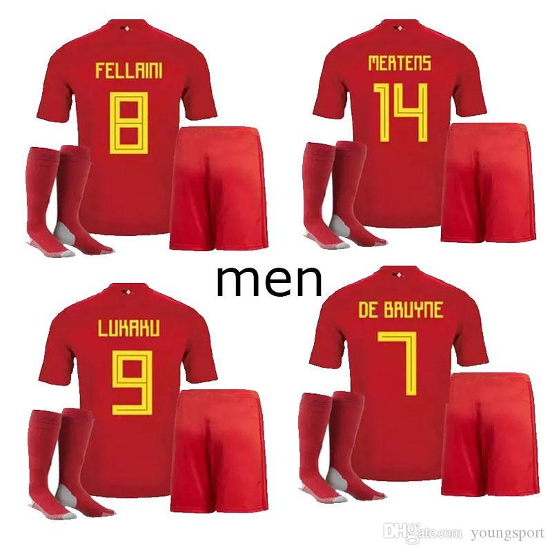 2018 2018 World Cup Belgium Adult Kits Soccer Jersey Full Sets Lukaku  Fellaini E.Hazard Kompany Youthsport Short Football Belgium Shirt Socks  From ... 17327934d