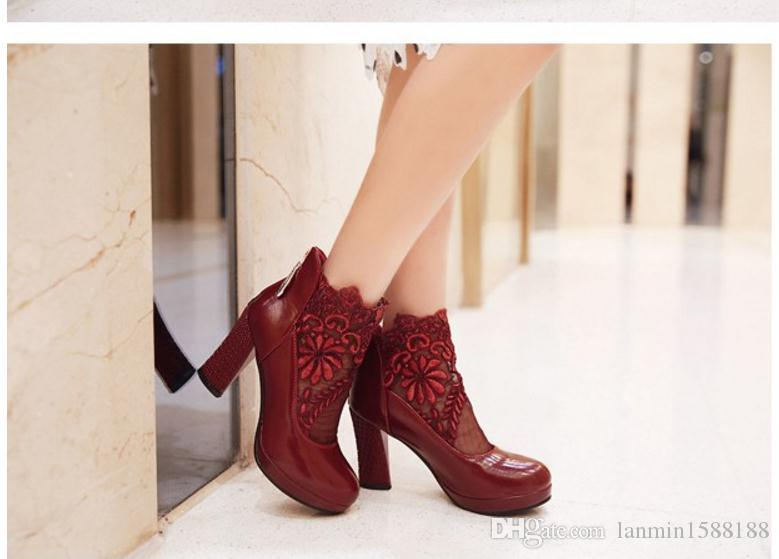 Free send Hot 2018 spring new style grenadine crochet Coarse heel high heel woman single shoes