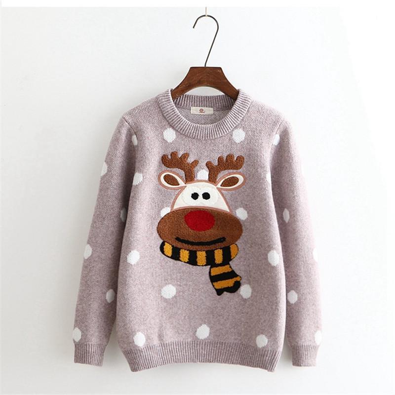 Merry Pretty Winter Warm Sweater Women Christmas Deer Cute Dot Cotton Jumper Knitted Sweaters Female Long Sleeve Pullovers