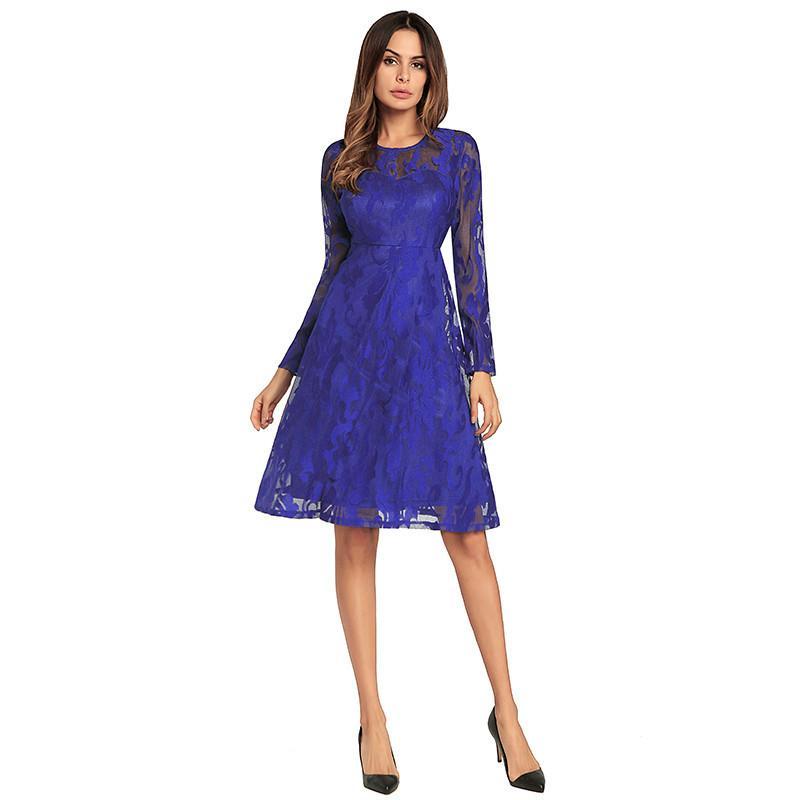 Großhandel Elegante Spitze Kleider Blume Vintage Frauen Frühling Herbst  Sommer Kleid Party Vestido Rot Schwarz Blau Solide Weibliches Kleid 1292  Von ... 8cfb8329f0