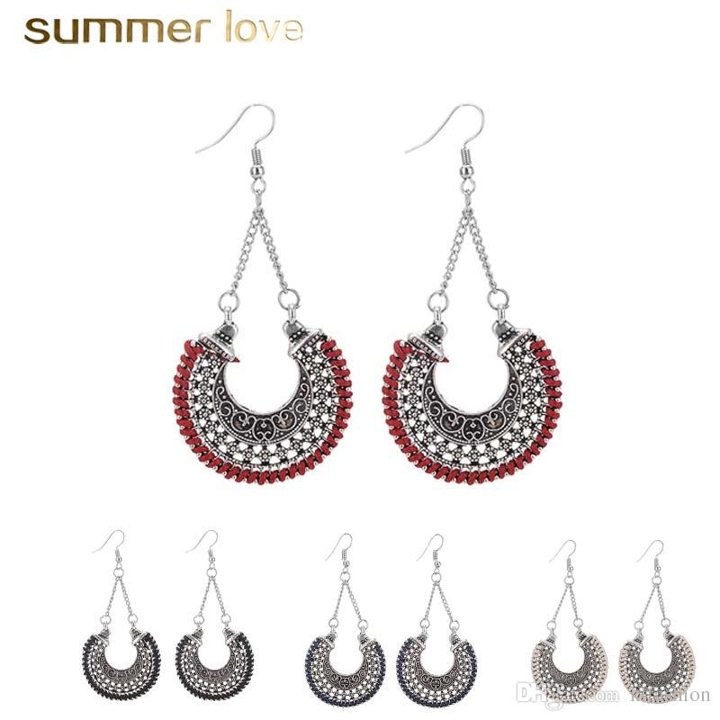 f7e865f39 Ethnic Hollow Vintage Sliver Rope Wrap Earrings for Women Bohemian Crescent  Long Hook Dangle Earring Women Jewelry Wholesale