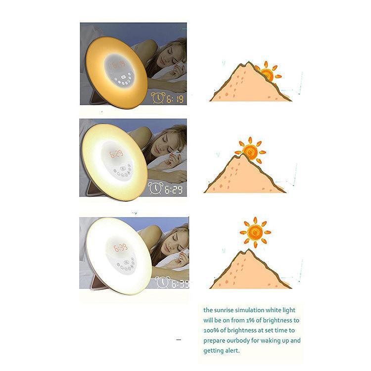 Sonnenaufgang-Wecker wachen Licht LED-Uhr mit Sonnenaufgang-Simulation und Sonnenuntergang auf, die Nachtlicht mit natürlichen Klängen FM-Radio 6 klingen