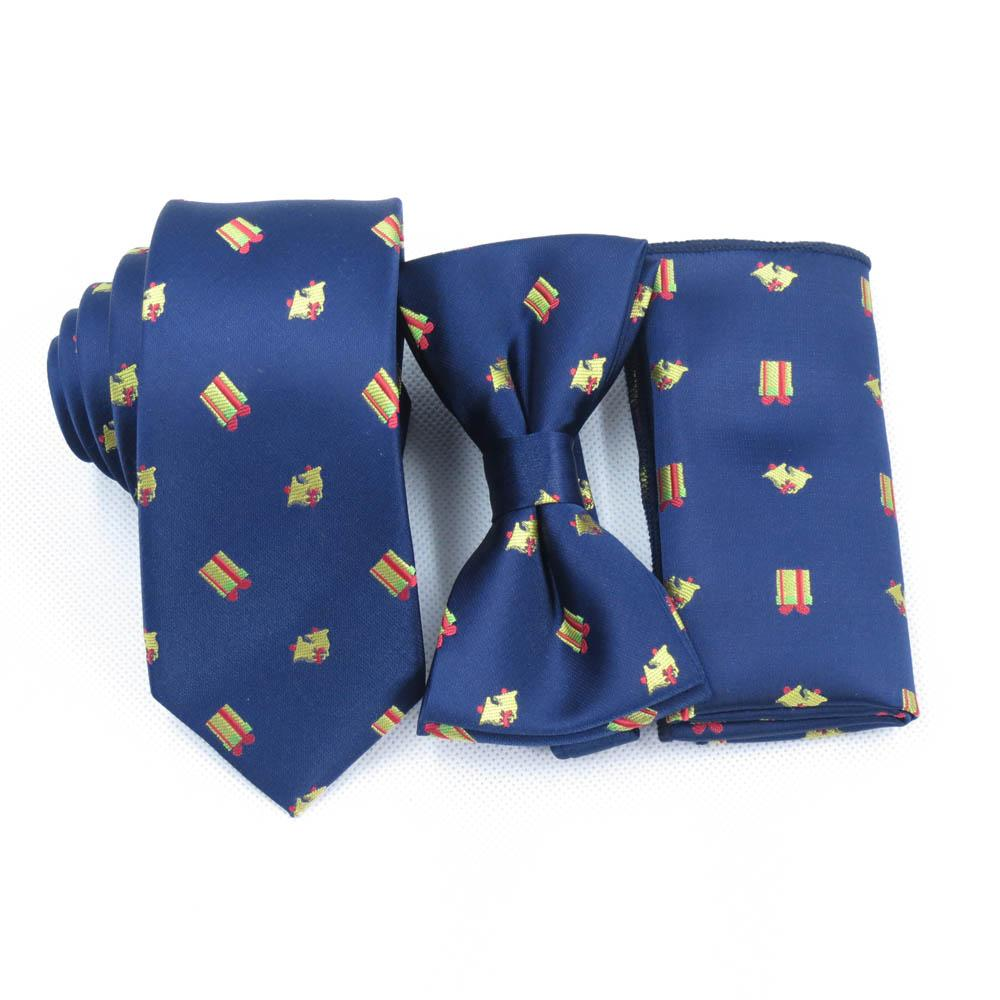 356bdab65bb4 Christmas gifts Ties, bell designs, bow tie pocket towels, Navy Christmas  tie, men's party Festival dark blue necktie