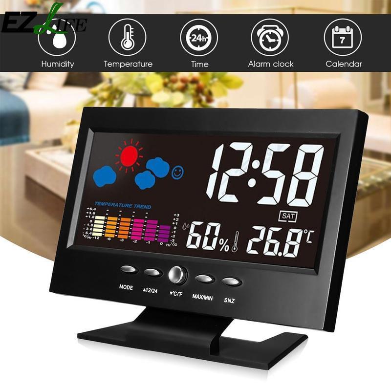 62d25578f0e Compre EZLIFE Controle De Voz Luz De Fundo LCD Relógio Despertador Monitor  De Tempo Calendário Com Sensor De Som Temporizador Temperatura Relógio De  Mesa De ...