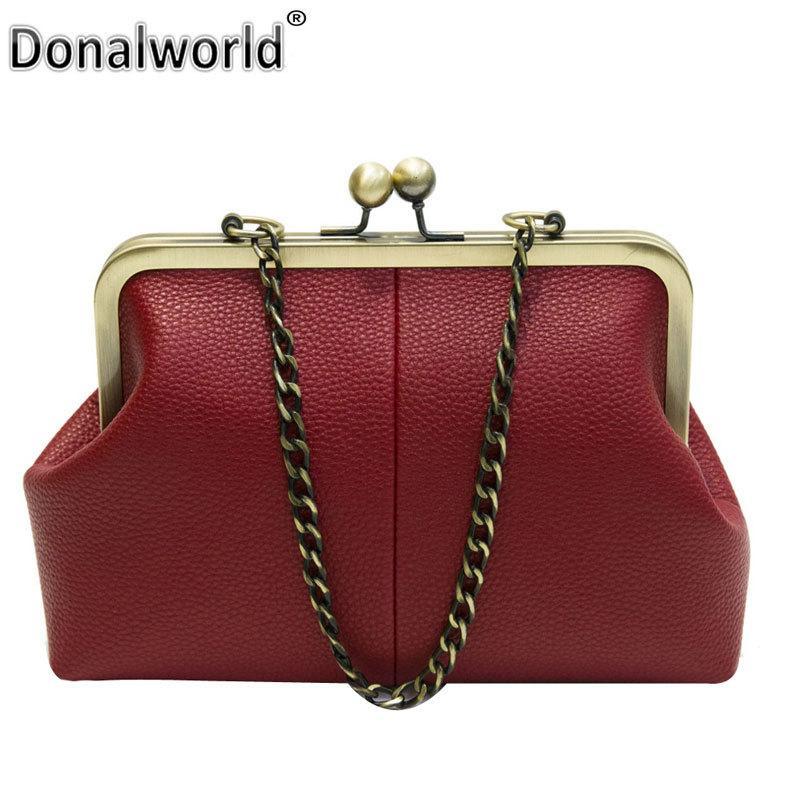 163f8a3d8de Donalworld Women Messenger Bag Retro Kiss Lock Pu Leather Crossbody Bag  Vintage Shoulder Purse Handbag Totes Solid Color Y18102604