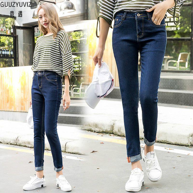 Jeans Guuzyuviz Plus Size Autumn Winter Denim Cotton Elasticity Harem Pants Casual High Waist Washed Jeans Woman