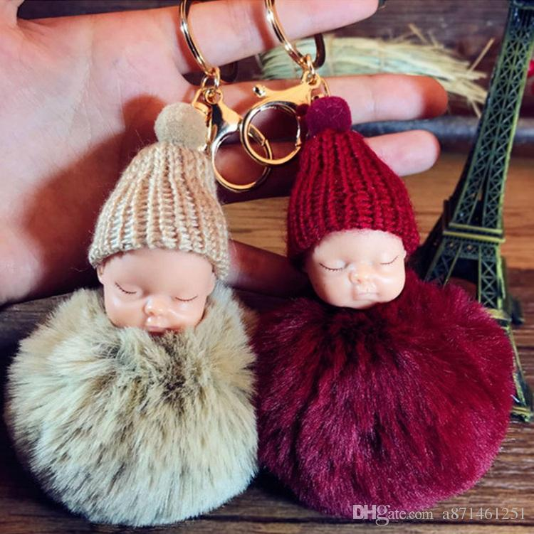 493670bb4 2018 12 color Cute Sleeping Baby Doll Keychain Pompom Rabbit Fur Ball Key  Chain Car Keyring Women Key Holder Bag Pendant Charm Accessories