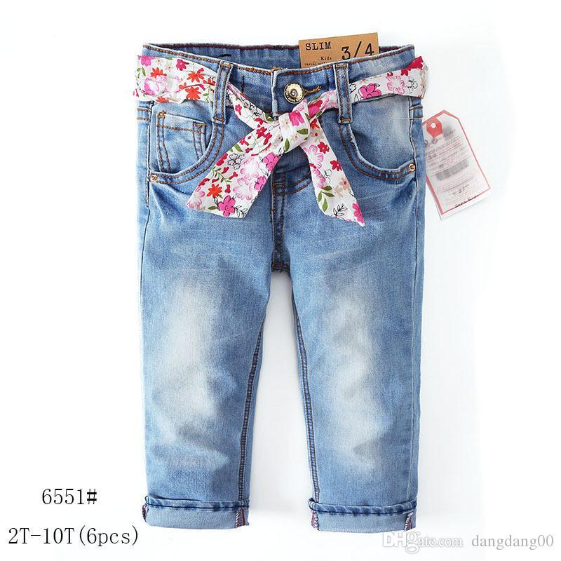 e5d9052a659c2 Acheter Nouveau Jeans Filles Automne Et Hiver Jeans Et Ceinture Florale  Pantalon En Denim / De $71.36 Du Dangdang00 | DHgate.Com