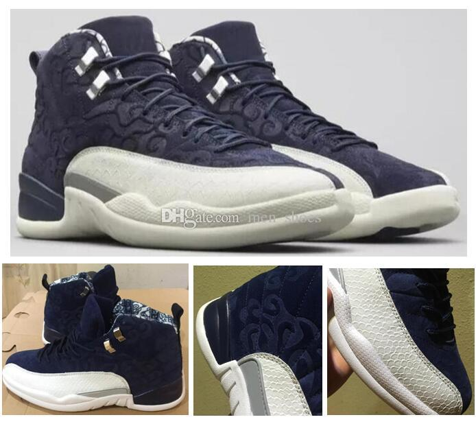 8ee9f0414868 High Quality 12 12s International Flight Tokyo Japan Basketball Shoes Men 12  Suede Deep Blue White Sports Sneakers With Shoes Box Basketball Shoes Women  ...