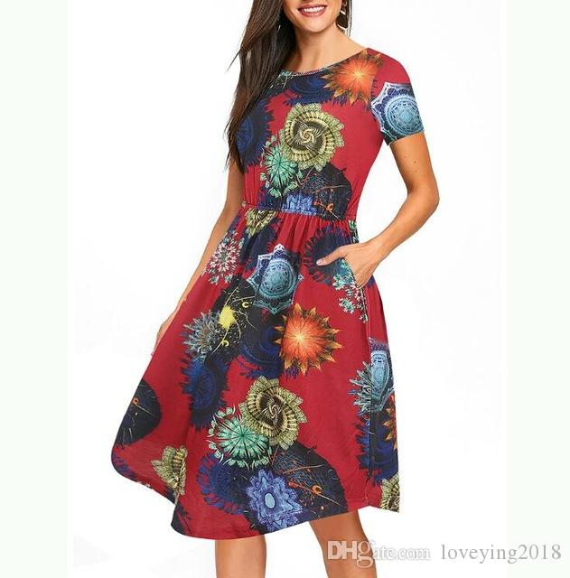 8f041a459a2c New Casual Women Dress Short Sleeve Print Floral Navy Blue Vestidos Pockets  Elastic Waist Summer Swing Red Dresses Party Dresses For Women Tunic Dress  From ...