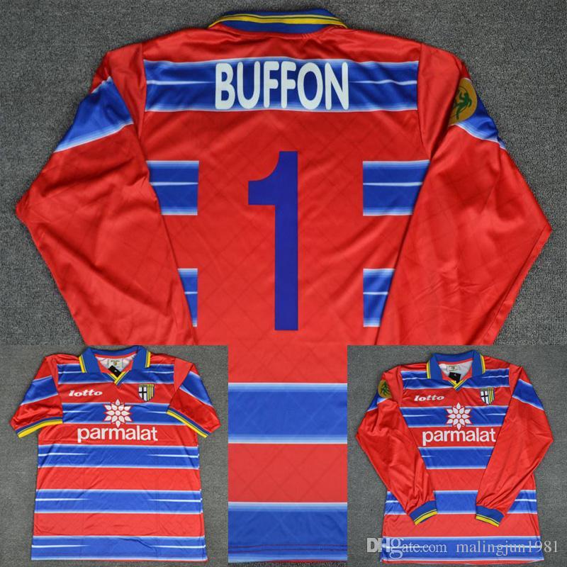 official photos 7179c e8d1a 98 99 Parma Calcio Goalkeeper Buffon Red Long Sleeve Shorts Retro Soccer  Jersey 1998 1999 Italia Classic Football Shirts Maillot de Foot
