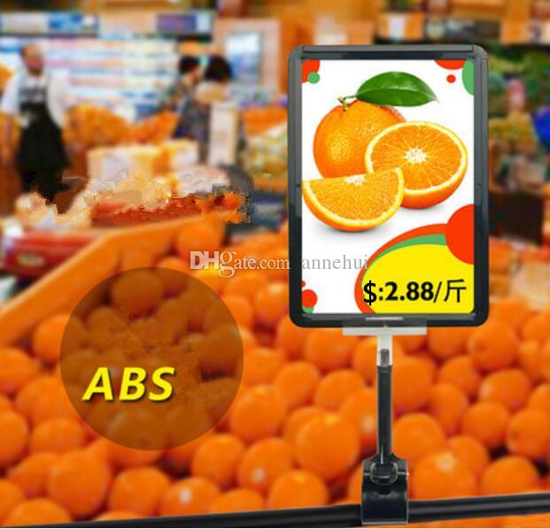 Hot sale A5 frame pop advertising poster display stand rack Supermarket Fruit vegetable price tag Promotions card holder