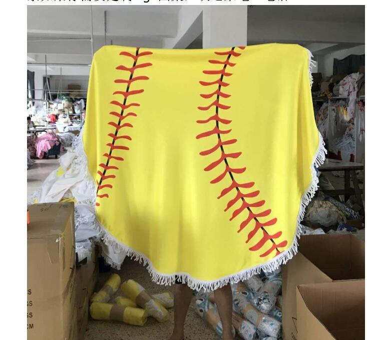 150cm Sports Style Beach Towel Baseball Softball Polyster Round Blanket with Tassel Printed Summer Shawl Towel Women Swimming Bath Yoga Mat