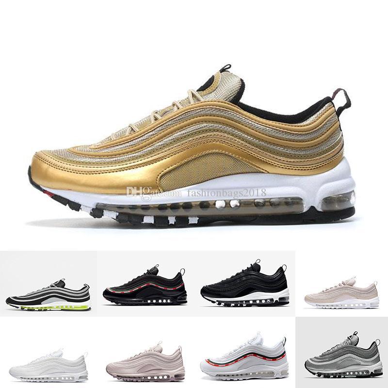 3137d88fa1d90f 2018 97 OG Running Shoes Tripel White Metallic Gold Silver Bullet 97 ...