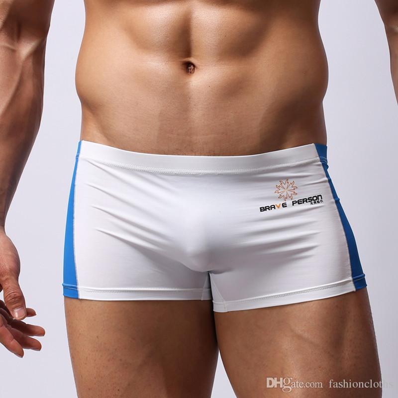6a66e3739689b3 Acquista Sexy Uomini Swim Trunks 2018 Nuovo Di Alta Qualità Patchwork  Intimo Boxers Bulge Pouch Uomini Shorts Boxer Costume Da Bagno Uomini  Costumi Da Bagno ...